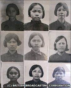 Photos of victims of the Khmer Rouge at the former Security Prison 21, now the Tuol Sleng genocide museum