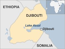 Map of Djibouti showing Lake Assal