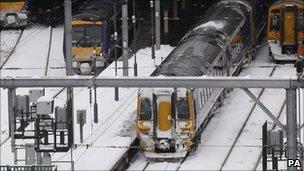 Trains at Waverley Station in Edinburgh