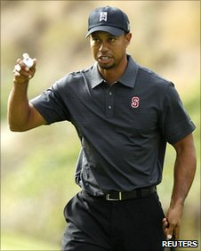 Tiger Woods after an eagle on the second hole