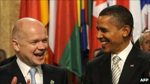 William Hague and Barack Obama