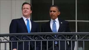 British Prime Minister David Cameron  and US President Barack Obama