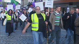 Unison members marching through Taunton