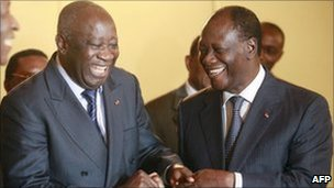 Laurent Gbagbo (left) and Alassane Ouattara. Photo: 27 November 2010