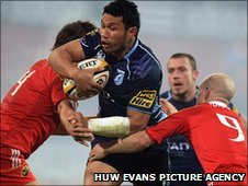 Cardiff Blues' Casey Laulala tries to penetrate the Munster defence at Thomond Park