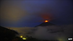 View from Cotalo, Ecuador, of the Tungurahua volcano in eruption on 4 December, 2010