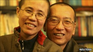 Liu Xiaobo (R) and his wife, Liu Xia (undated file image)