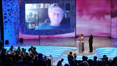 Roman Polanski appears via internet video link