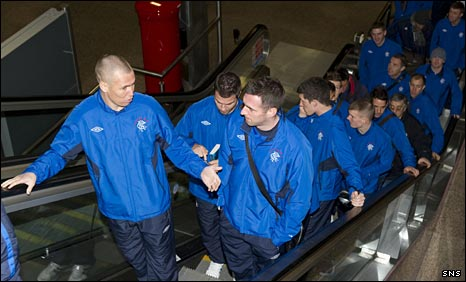 Rangers players leave Glasgow Airport