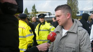 EDL leader Steven Lennon being interviewed
