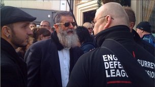 Rabbi Nachum Shifren and EDL supporters