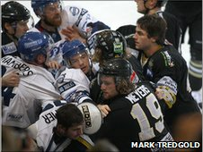 Bench clearance brawl in Coventry