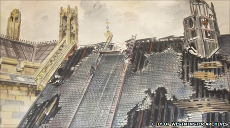 View of damage to the roof of Westminster Hall by the artists Vivian Pitchforth