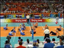 Action from sitting volleyball