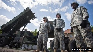 US soldiers with Patriot missile battery at army base in northern Polish town of Morag, May 2010