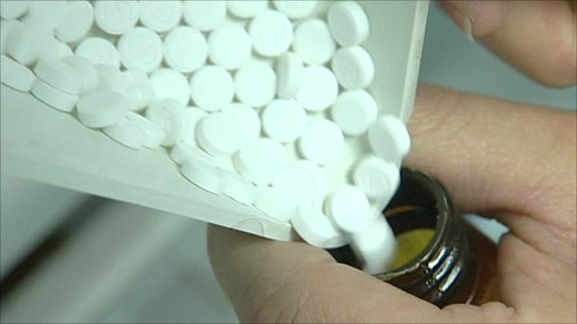 Aspirin being poured into bottle