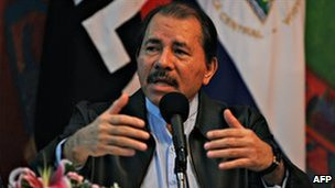 Nicaraguan President Daniel Ortega addresses the nation in Managua, on 2 November 2010