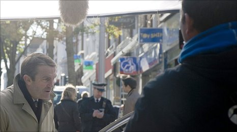 Bradley Walsh films a scene for Law and Order UK in Sutton High Street