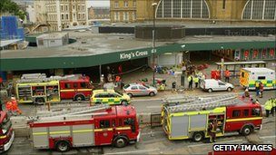Emergency services outside the main line station at King's Cross on 7 July 2005