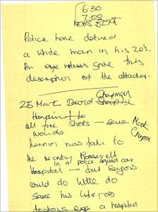 Tom Brook's notes on the star's murder
