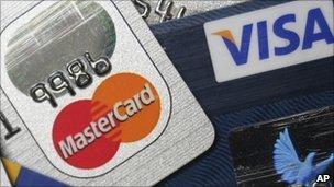 Mastercard and Visa cards