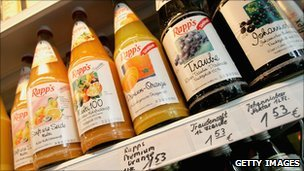 Fruit juice on sale in Germany - file pic