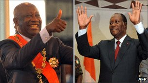 Left: Laurent Gbagbo Right: Alassane Ouattara