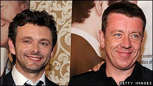 Peter Morgan with Michael Sheen (r)