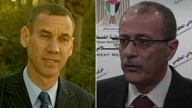 Israeli government spokesman Mark Regev and Palestinian official Ghassan Khatib