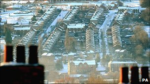 Snow-covered rooftops in Blaydon, Gateshead