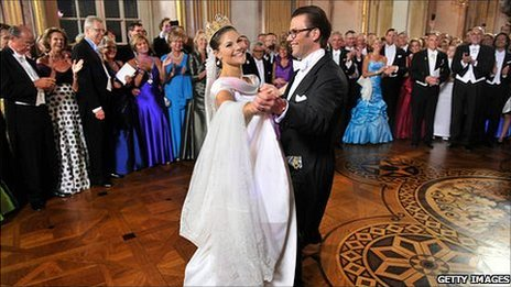 File photograph of Princess Victoria and Prince Daniel of Sweden at their wedding in June 2010