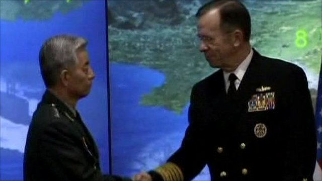 US Admiral Mike Mullen meeting with Chinese officials
