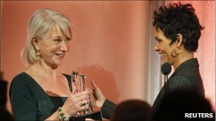 Dame Helen Mirren (l) with Halle Berry