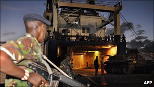 Ukrainian freight ship Faina being unloaded in Mombasa, 14 February 2009