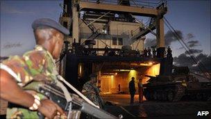 Ukrainian freight ship Faina being unloaded in Mombasa, 14 February 2009