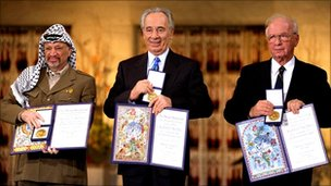 Yasser Arafat, Shimon Peres, Yitzhak Rabin with their Nobel Prize for peace, Oslo, Dec 1994