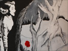 mural of woman and red flower