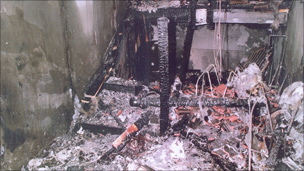 The fire damaged stairwell at the flats