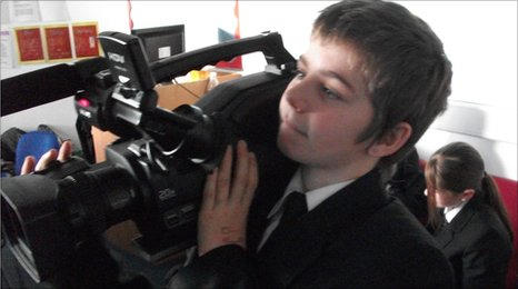 A School Reporter testing out the camera at Horbury School - a Specialist Language College - in Wakefield