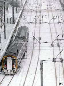 Train in snow at Edinburgh