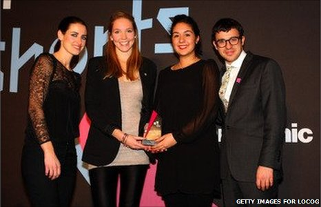 Winners of the Best Fiction (20-25 years old) Megan Salter, Sara Harrak with Film Nation hosts Kirsty Gallacher (left) and Simon Bird