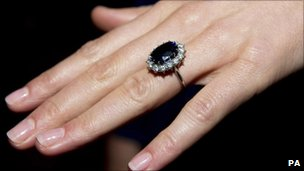 Kate Middleton wearing her engagement ring which once belonged to Diana, Princess of Wales