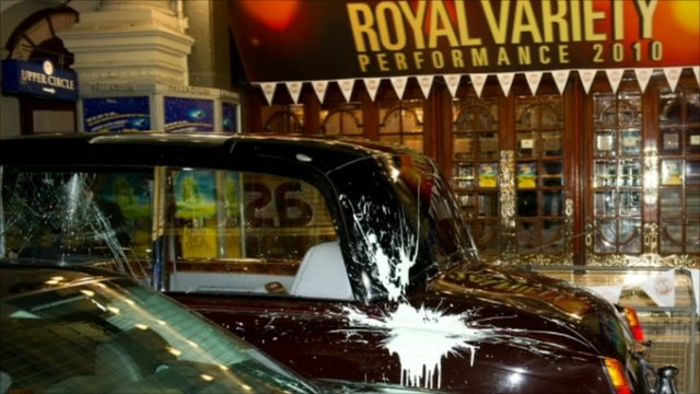 Paint-splattered royal car