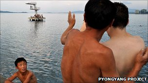 North Koreans with an American student at the beach in Wonsan