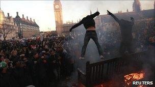 Protesters in Parliament Square