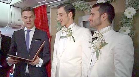 Aleksander and Shantu at their wedding service