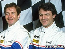 Ligier team-mates Martin Brundle and Mark Blundell