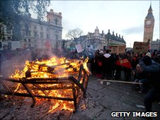 Bench on fire in Parliament Square