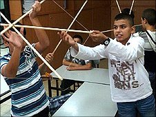 Children making kites
