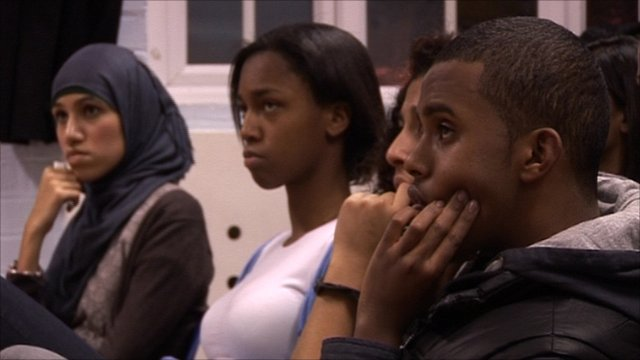 Young Londoners listen to a youth worker from Burundi